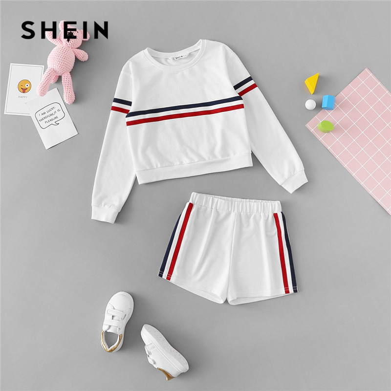 SHEIN Kiddie Girls White Striped Side Casual Top And Shorts Two Piece Set Clothes Sets 2019 Spring Long Sleeve Kids Suit Set off the shoulder short sleeve printed crop top elastic waist shorts twinset for women