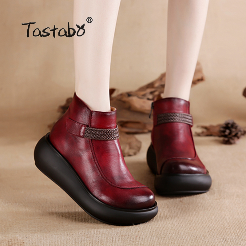 Tastabo Boots Women Comfortable Autumn Genuine Leather Ankle Boots for Women Soft Martin Wedges Platform Shoes Ladies
