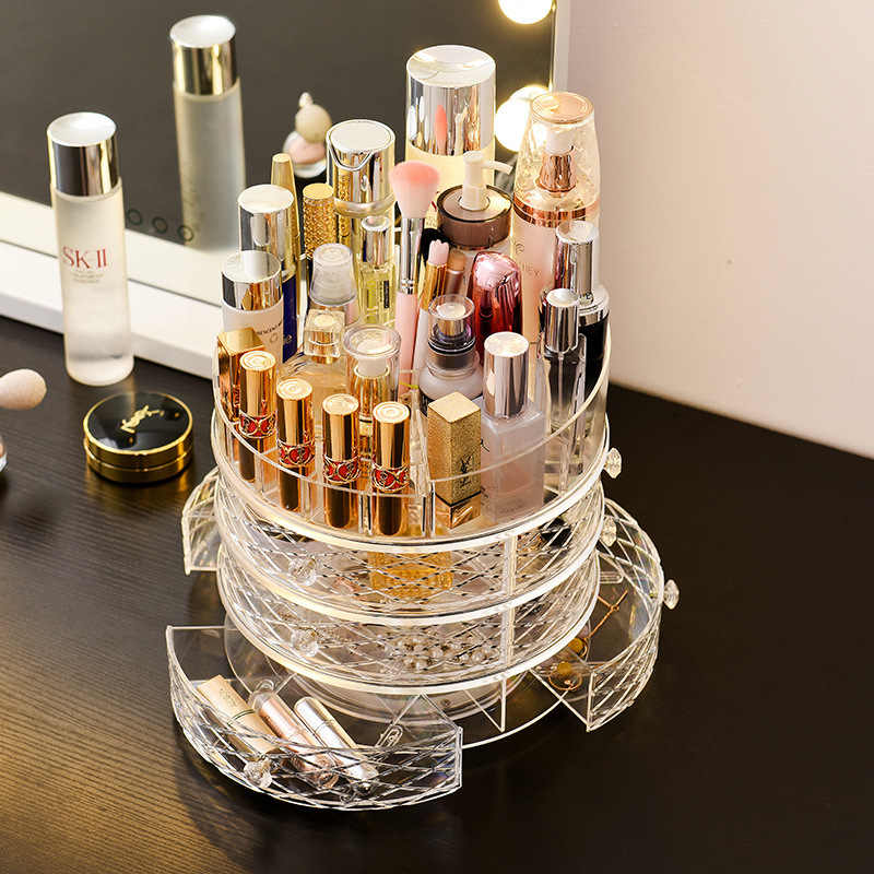 Cosmetic Case Makeup Tools  Accessories 360 Degrees Rotary Drawer-type Make Up Brush Shelf Skin Care Lipstick Maquillage Rack