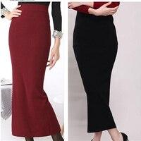 Vrouwen hoge taille zakken hip stretch gebreide rokken wol Slanke Heupen kokerrok Plus Size 2015 herfst winter Hot koop
