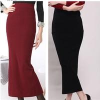 Women's high waist pockets hip stretch knit skirts wool Slim Hip pencil skirt Plus Size 2015 autumn winter Hot Sale