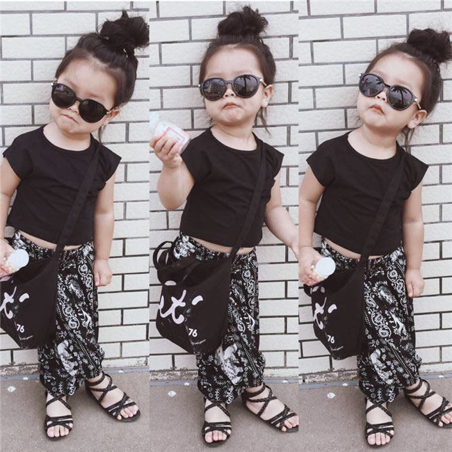 Summer Kids Girls Hip Hop Clothing Sets Fashion Toddler Short Sleeve T  Shirt Top+Print Pants Suit For Children Kit Outfits a5934f809