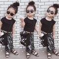 Summer Kids Girls Hip Hop Clothing Sets Fashion Toddler Short Sleeve T Shirt Top+Print Pants Suit For Children Kit Outfits