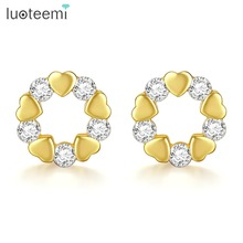 LUOTEEMI Cute Golden Heart Stud Earrings for Woman Wedding Dating Elegant Shiny CZ Stone Female Aretes De Mujer Christmas Gift aretes de plata de ley mujer 2018 triangular pine stone woman s ear studs marble individual character geometry earring qw 74