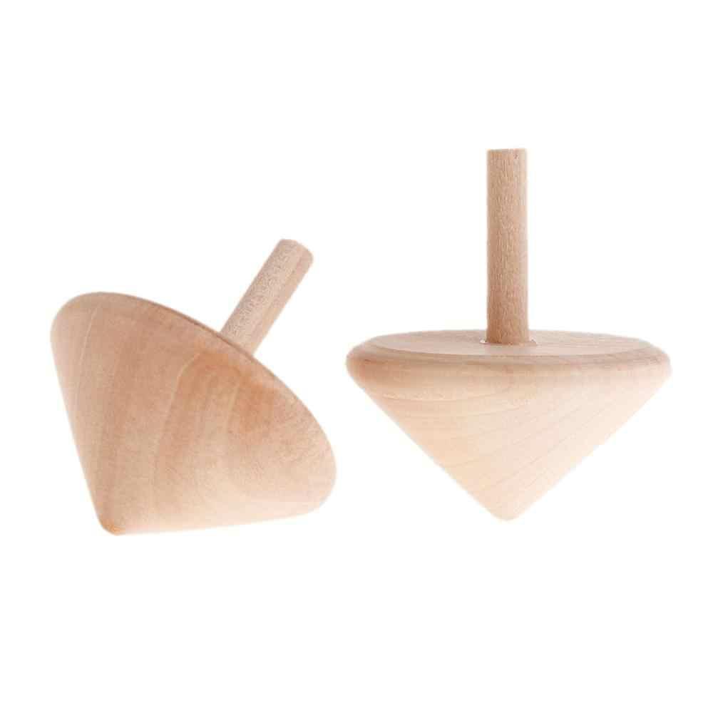 Alta qualidade sem pintura de madeira girando topos diy giroscópio brinquedos crianças brinquedo arte artesanato