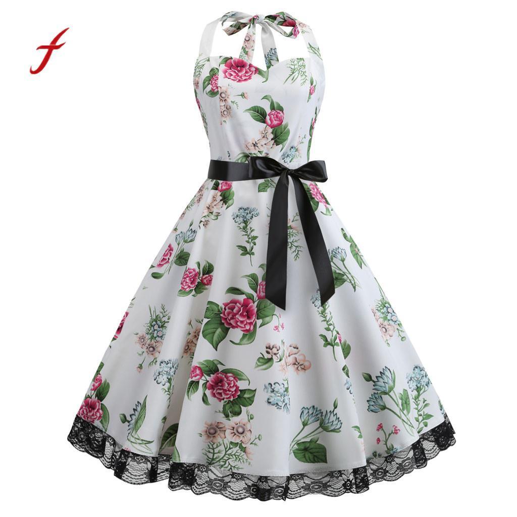 Feitong femmes robe Vintage sans manches licou imprimé dentelle couleur unie fête bal balançoire robe décoration robes été 2019