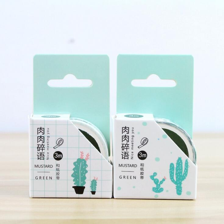 Nice Green Cactus Decorative Washi Tape DIY Scrapbooking Masking Tape School Office Supply colorful gilding hot silver alice totoro decorative washi tape diy scrapbooking masking craft tape school office supply