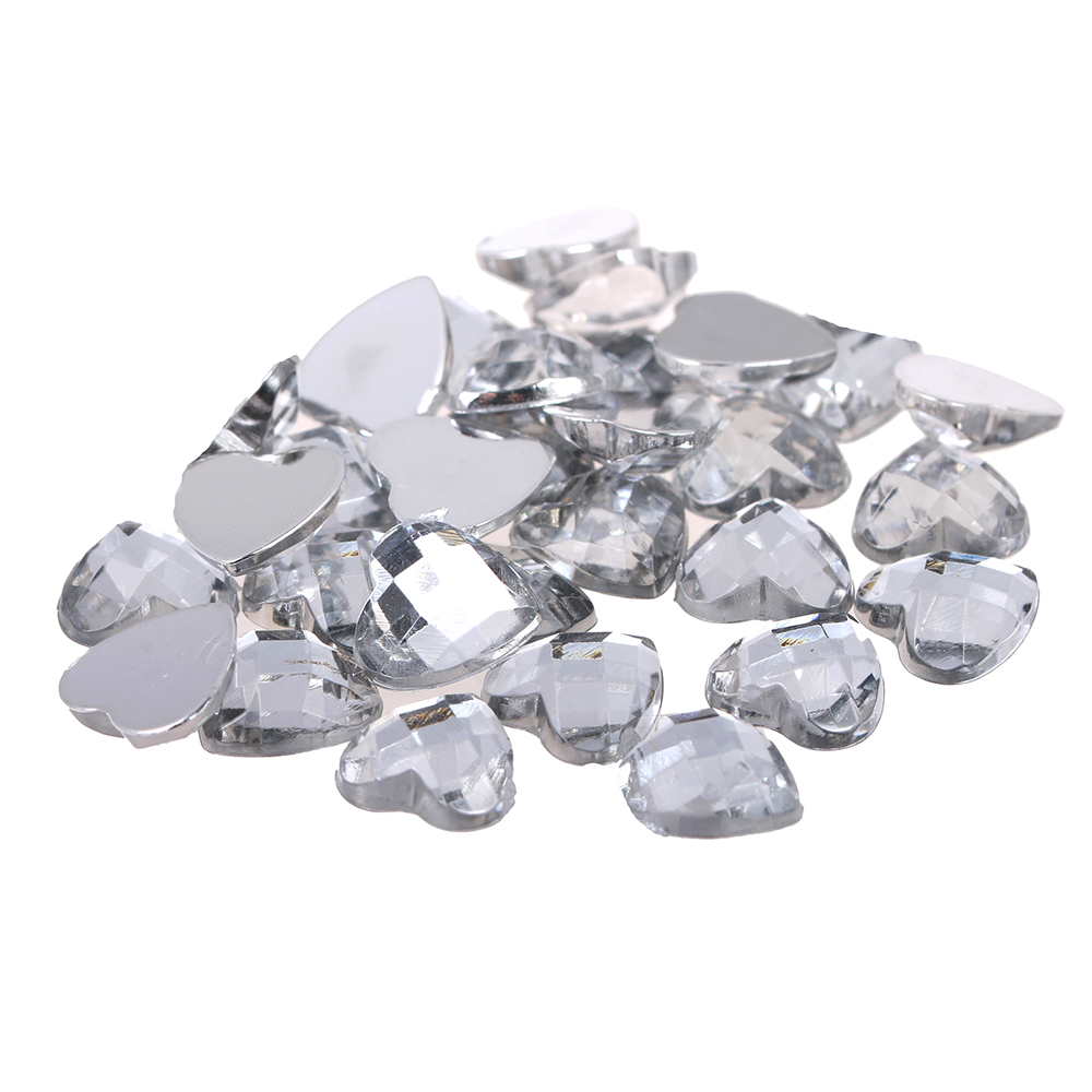 Acrylic Beads Flatback Heart Earth Facets 8mm 10mm 12mm Crystal Color Non Hotfix Glue On Diamonds DIY Jewelry Making Supplies 12 facets of a crystal