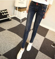 The new spring and summer 2016 Korean women slim slim stretch jeans wear white denim trousers like fabric