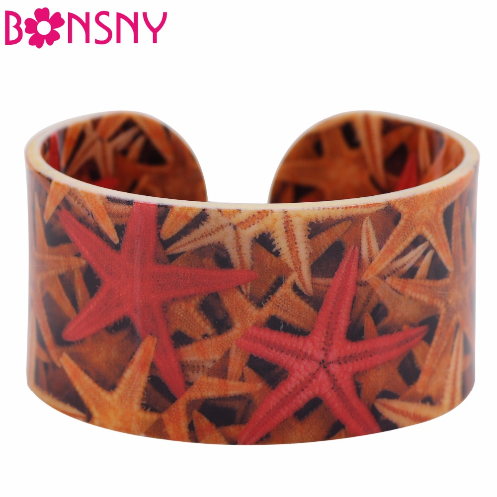 Bonsny Acrylic Starfish Wide Love Bracelets Bangles For Women 2017 New Fashion Ocean Animal Jewelry Charm Female Accessories