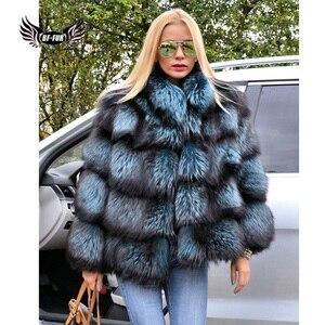 Image 4 - BFFUR כתרים אישה חורף 2020 אופנה מעילי עור אמיתי חדש בתוספת גודל בגדים מלא פלט אמיתי טבעי פרווה כחול שועל מעיל