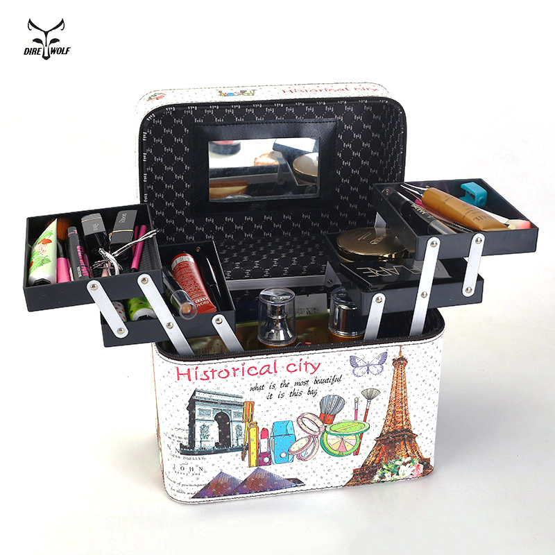 Women Large Capacity Professional Makeup Organizer Fashion Toiletry Cosmetic Bag Multilayer Storage Box Portable Flower Suitcase travel beauticians professional cosmetic makeup bag large capacity beauty organizer women portable makeup storage box neceser