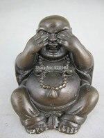 Chiny darmo handmade brązu kolekcja szczęście deaf czarny statua Buddy Maitreya szybka w Posągi i rzeźby od Dom i ogród na