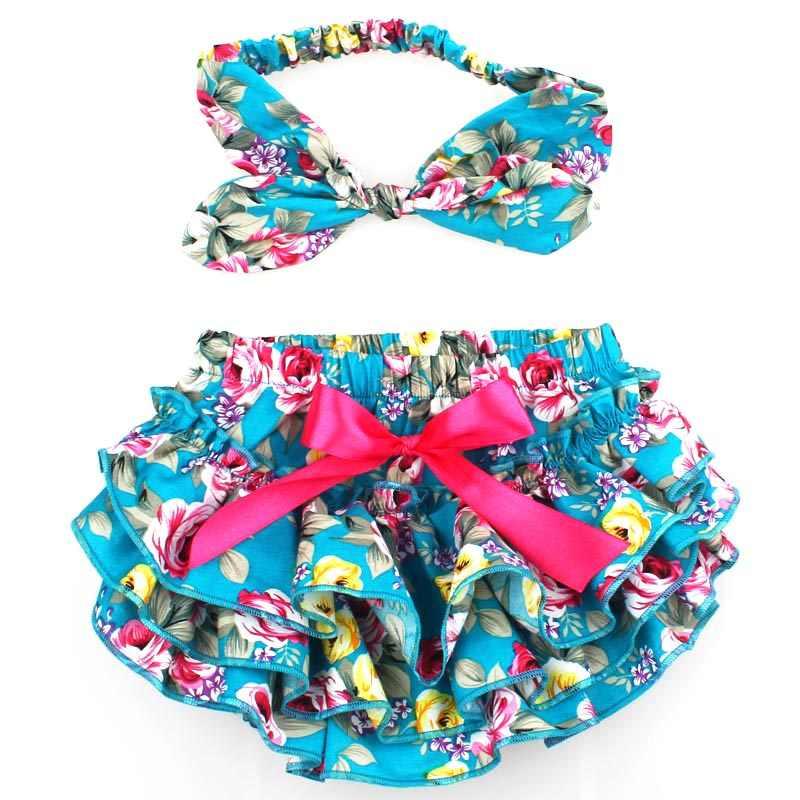 a03091da07f ... Floral Cotton Baby Bloomers Newborn Diaper Cover Cute Tutu Ruffled  Panties Baby Girl Bow Shorts+ ...