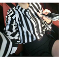 2014 Rushed Hot Sale Full Army Free Sleeve All Code Blouse Blusas 173 U50 Autumn Women's Stripe Shirt Brief