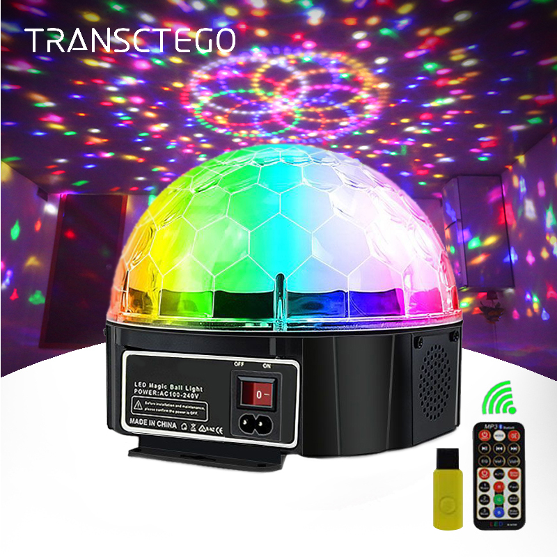 9 Color Bluetooth Disco Light Magic Ball Lamp Battery Power Portable Stage Light Music Player Sound Control Laser Projector Xmas