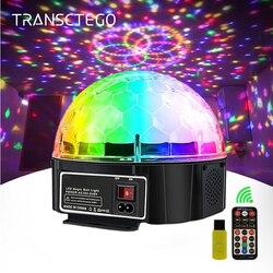 9 cor bluetooth luz de discoteca bola mágica lâmpada de energia da bateria portátil luz palco leitor música controle som projetor laser natal