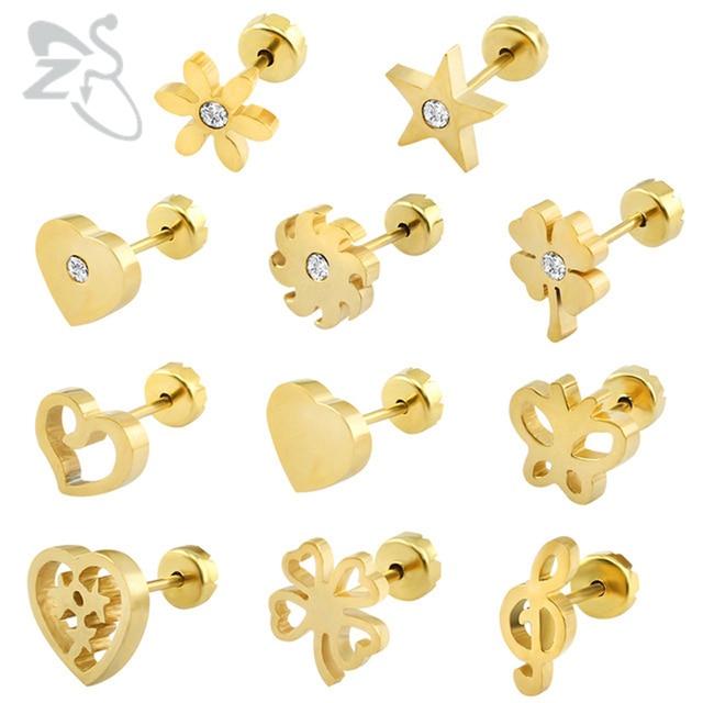 Baby Earrings Stainless Steel Kids Fashion Jewelry Stud Earing Female Piercing