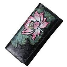 Neue Design Damen Echtem Leder Geldbörsen Vintage Lange frauen Geldbörse Weibliche Horizontale Kupplung Haspe Mode Brieftasche Münzfach