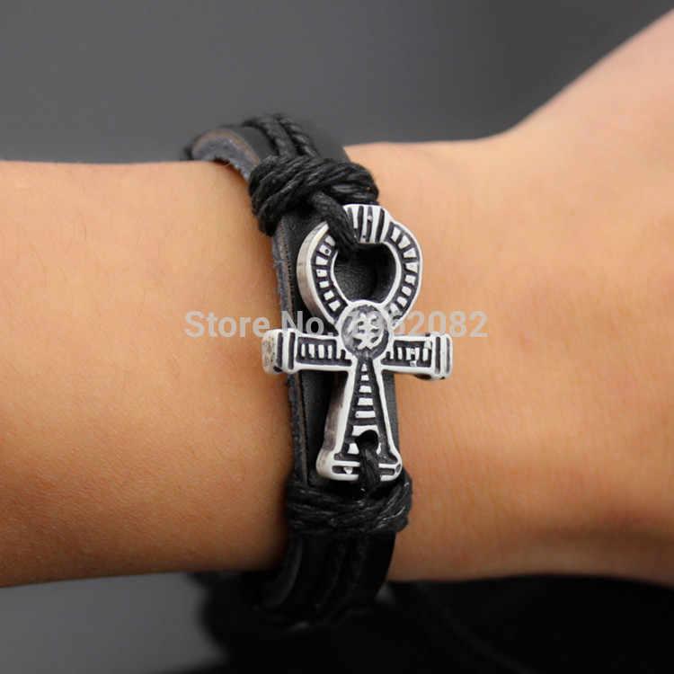Vente chaude tissé à la main antique symbole égyptien de la vie Bracelet en cuir Bracelet Bracelet amulette cadeau MB84