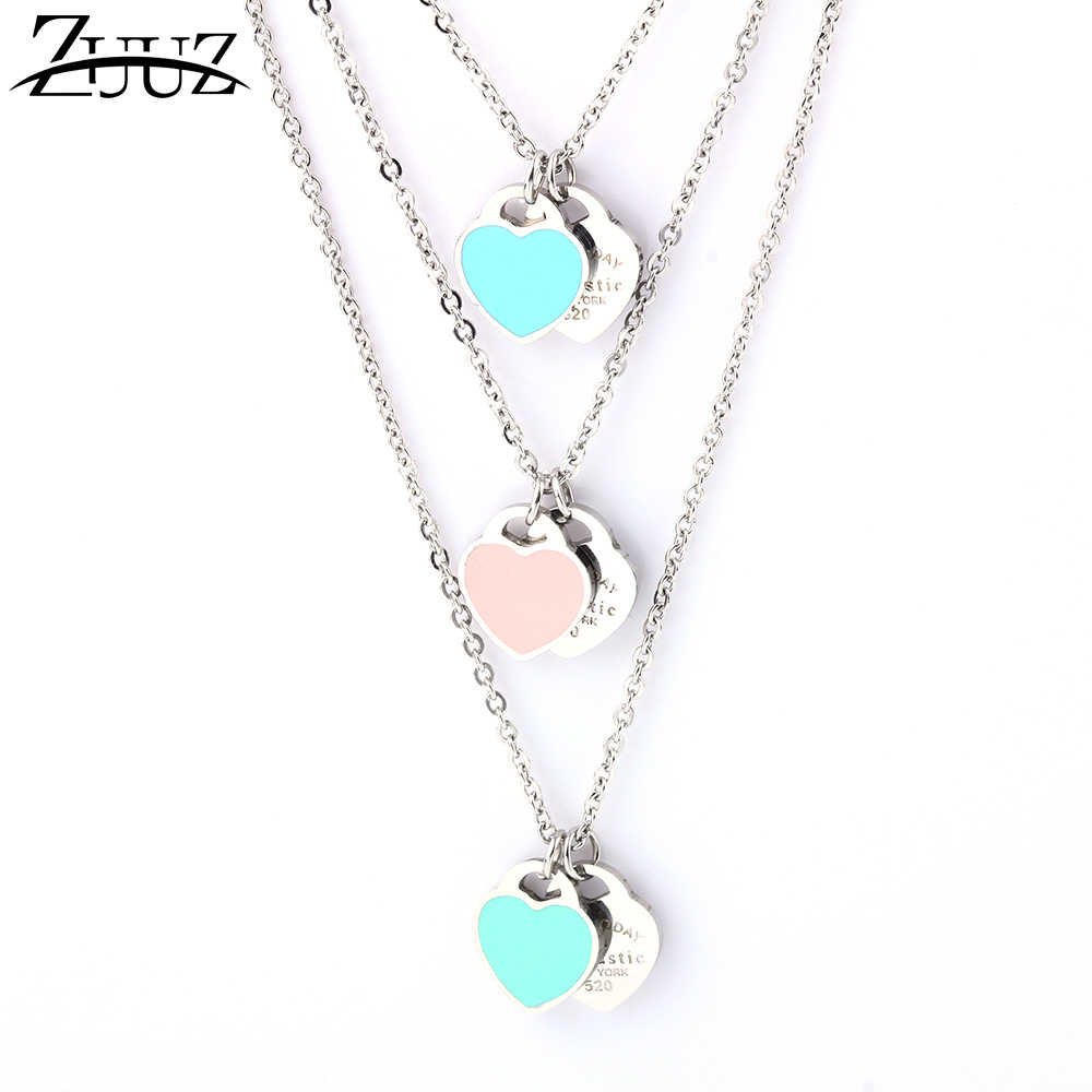ZUUZ stainless steel heart necklaces & pendants for women jewelry accessories silver jewellery chain femme best friends initial