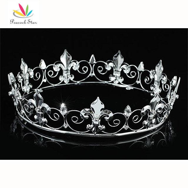 Pavo real Estrella hombres Imperial Medieval Homecoming Prom Accesorios Completo Redondo Del Círculo Plateado Corona del Rey CT1755