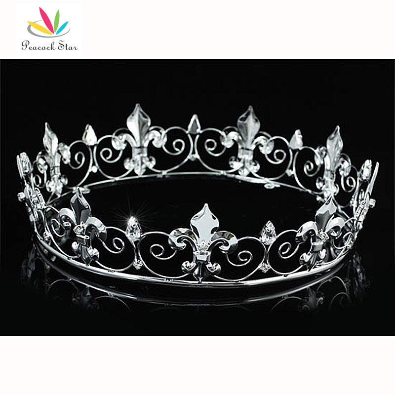 Peacock Star Men s Imperial Medieval Homecoming Prom Accessories Full Circle Round Silver Color King Crown