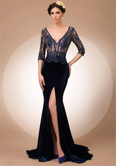 Arabic Style Evening Dresses Mermaid Backless Half Sleeve Navy Blue Velvet  Custom Made Backless French Lace Patterns Side Slit f4b8c1fe82bc