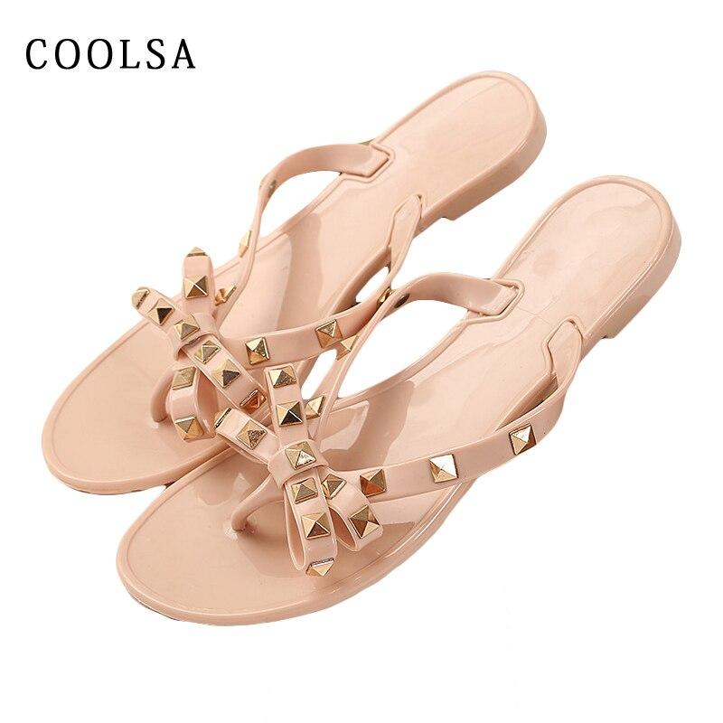 Coolsa Summer Flip Flops Women Cute Bow Slippers Metal Rivet Jelly Slides Flat Home Slipper Ladies Casual Beach Flip Flops Shoes