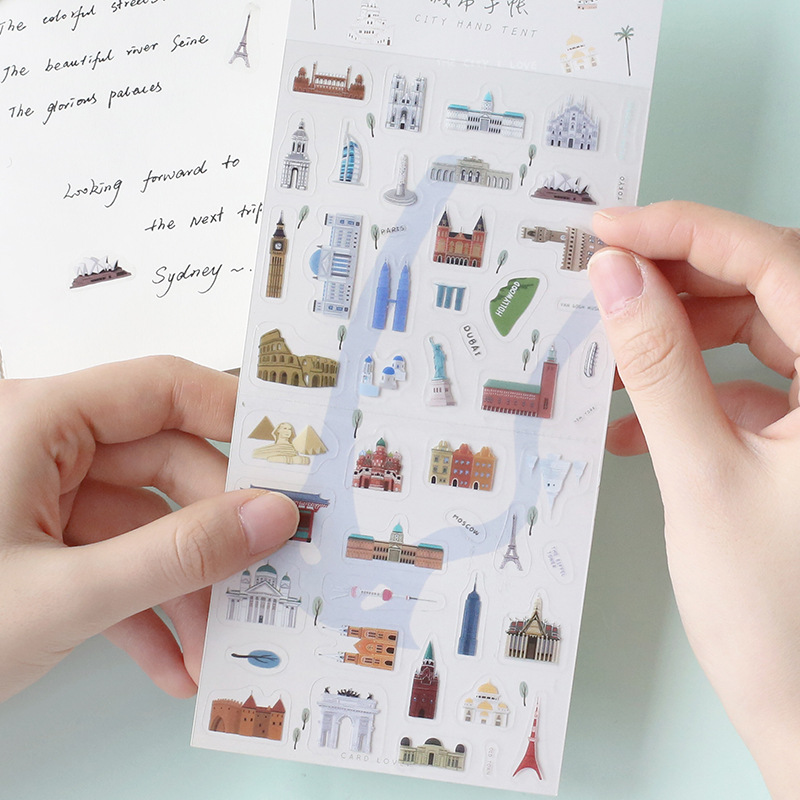 City walk series cat Decorative PVC Stickers Vintage kraft paper stamp Scrapbooking Stick Label Diary Stationery Album Stickers