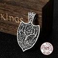 925 sterling silver viking Cerveja Rune colar pingente com couro da vaca real e corrente como presente