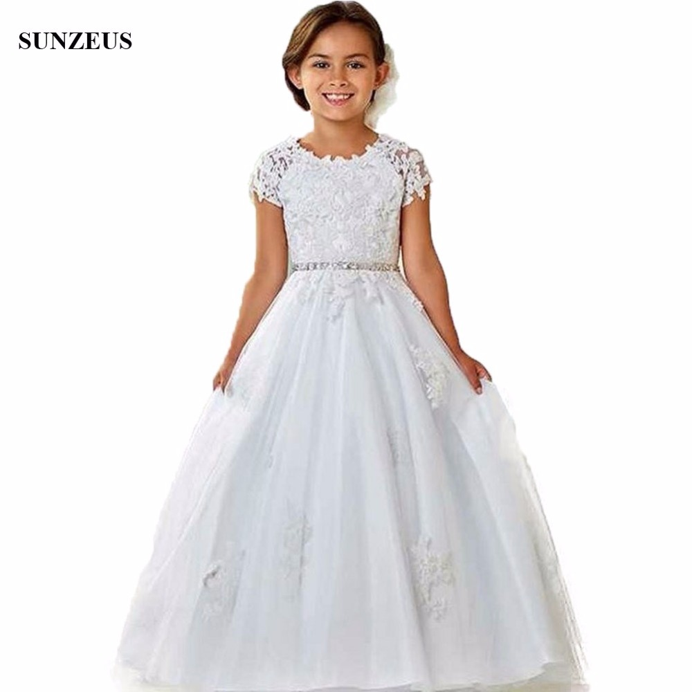 A-line Cap Sleeve Appliques   Flower     Girl     Dress   Beaded Waistline Long Tulle Children Party   Dresses   For Wedding FLG066