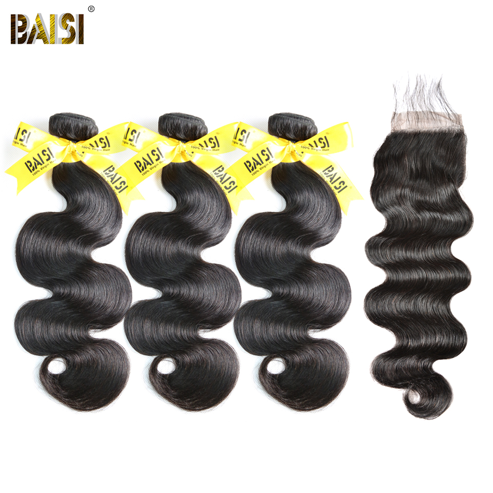 BAISI 100% Unprocessed Peruvian Virgin Hair Body Wave 3 Bundles with Closure Free Shipping.