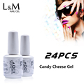 24 Pcs Vernis Permanent 15 Ml Candy Cheese Gel Uv Nail Gel Polish Long Lasting Led Nail Polish Lacquer Need Uv Gel