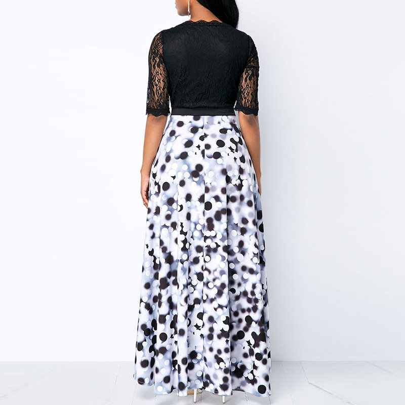 Винтажные черные африканские большие размеры элегантные вечерние сексуальные женские длинные платья летнее в горошек кружевные сетчатые женские модные макси платья 2019