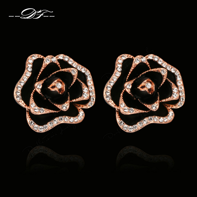 Black Rose Flowers Cubic Zirconia Crystal Stud Earrings Rose Gold Color Fashion Vintage Jewelry For Women brincos joias DFE729