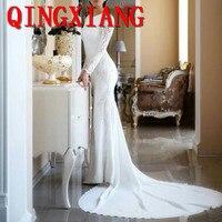 2019 New Fashion White Modest Mermaid Wedding Dresses Lace Appliqued Wedding Dress Bridal Gowns Plus Size robes de mariée