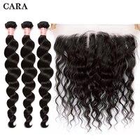 Свободная волна Связки с фронтальной застежка 3 бразильский пучки волос плетение с закрытием 4 шт./лот человеческих волос 13x4 кружева CARA
