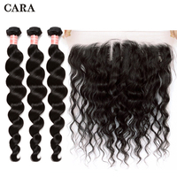 Loose Wave Bundles With Frontal Closure 3 Brazilian Hair Weave Bundles With Closure 4 Pieces/Lot Remy Human Hair 13x4 Lace CARA