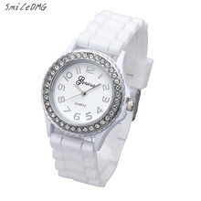 SmileOMG Watch New Fashion Silicone Gel Ceramic Style Band Crystal Bezel Women's Watch Christmas Gift ,Sep 16