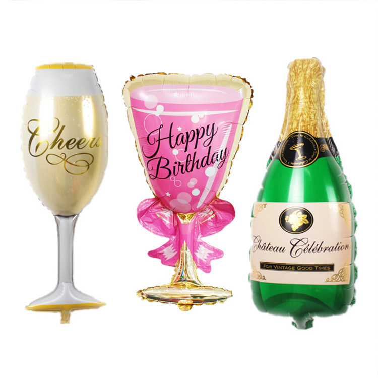 Us 0 87 20 Off Foil Champagne Cup Beer Bottle Balloons Kid Toys Anniversary Wedding Valentines Love Letter Party Decoration Photo Booth Props 8 In