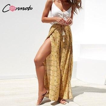Conmoto Casual High Waist Wide Leg Pants Women 2019 Summer Beach Split Trousers Female Holiday Vintage Floral Prints Capris