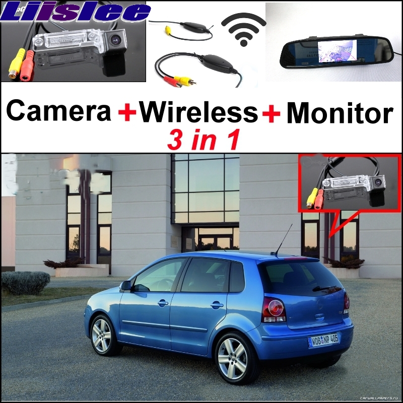 Liisless Special Rear View Camera + Wireless Receiver + Mirror Monitor Easy Parking System For Volkswagen VW Polo MK4 Polo Vivo 3 in1 special rear view camera wireless receiver mirror monitor back up parking system for citroen ds3 ds 3 2009 2015