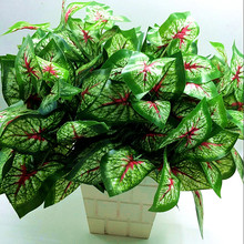 1Pcs 5 red taro leaf Artificial Plastic Green Plants Floral Decor Fake Leaves simulation small potted green plant leaves