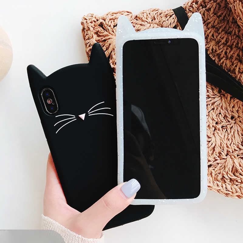 couple Cute Glitter Bearded Cat Case For iphone 6 6S 7 8 Plus X XR XS Max SE 5 5S 5C Squishy lovers Cat Cover Mobile Phone Bags