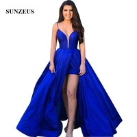 Royal Blue Prom Dresses Spaghetti Straps Long Party Gowns For Girls Sexy Lace up Back Graduation Dress Taffeta Robe