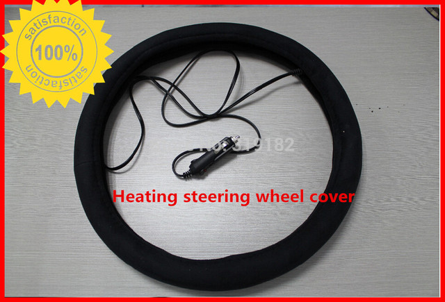 Automobiles Steering Covers heated warm heated steering wheel cover + cigar lighter electrical heater size about 37-39cm