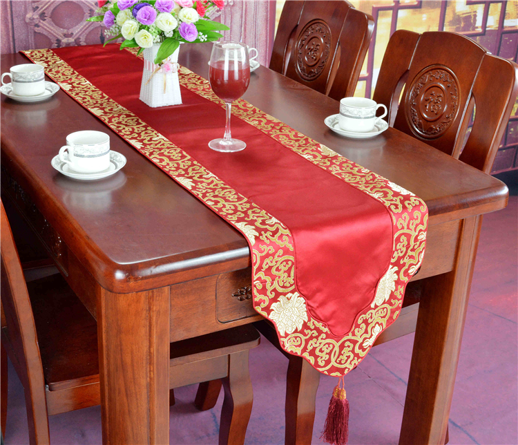 Patchwork Decoration Damask Table Cloth Runners Dining