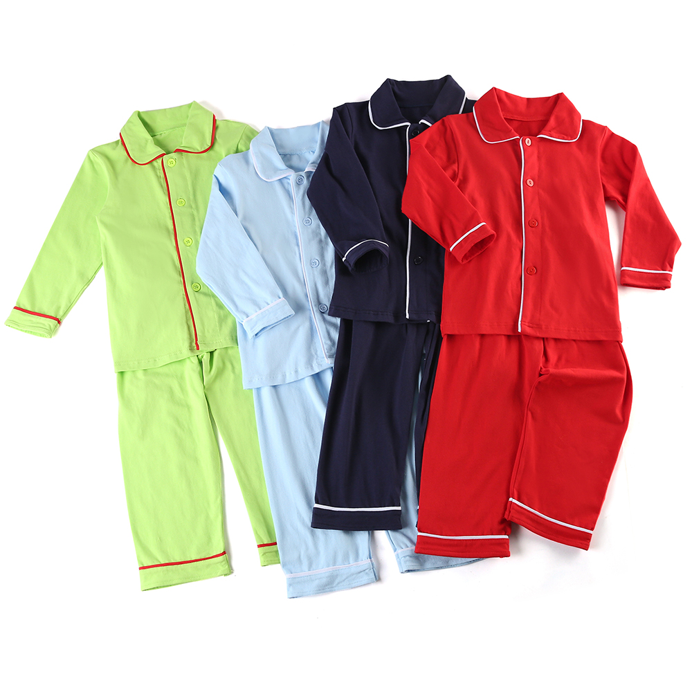 Boys Girls Clothing Set Family Matching Children Sleepwear Christmas 100% Cotton Blank Ruffle Kids Pajamas