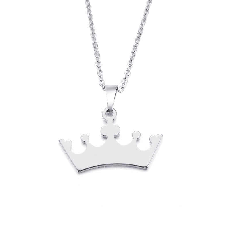 DOTIFI Stainless Steel Necklace For Women Man Lover's Cartoon Crown Gold And Silver Color Pendant Necklace Engagement Jewelry